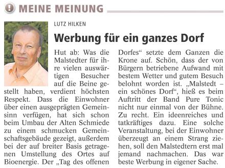 Die Meinung von Lutz Hilken (Zevener Zeitung)